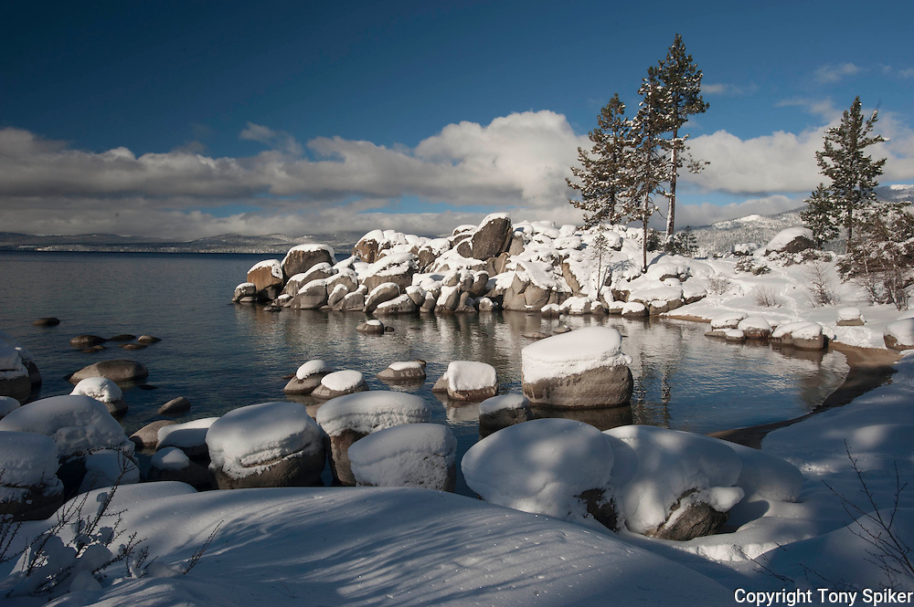 """""""Winter at Sand Harbor 3"""" - A landscape photograph of snow covered boulders taken at Sand Harbor, Lake Tahoe after a winter storm"""