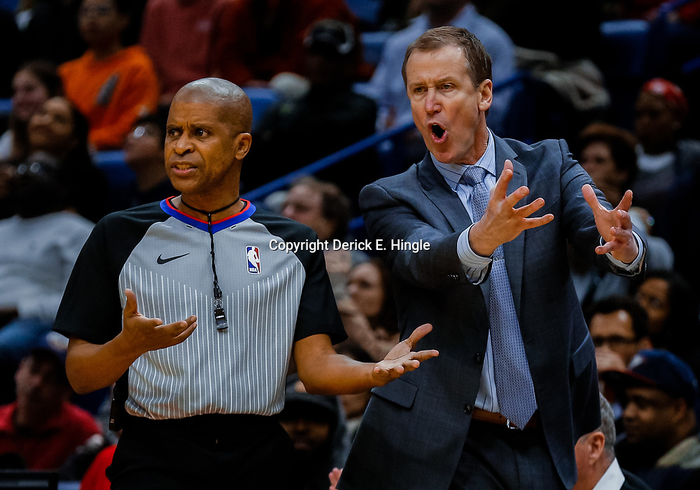Jan 12, 2018; New Orleans, LA, USA; Portland Trail Blazers head coach Terry Stotts argues with an official during the second half against the New Orleans Pelicans at the Smoothie King Center. The Pelicans defeated the Trail Blazers 119-113. Mandatory Credit: Derick E. Hingle-USA TODAY Sports