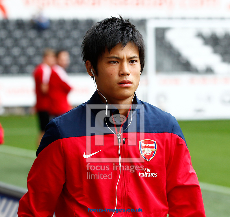 Picture by Mike  Griffiths/Focus Images Ltd +44 7766 223933<br /> 28/09/2013<br /> Ryo Miyaichi of Arsenal before the Barclays Premier League match at the Liberty Stadium, Swansea.