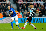 Michael Keane (#4) of Everton plays a short pass during the Premier League match between Newcastle United and Everton at St. James's Park, Newcastle, England on 9 March 2019.