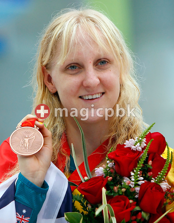 Jessicah SCHIPPER of Australia poses with her bronze medal after finishing third in the Women's 200m Butterfly final held at the National Aquatics Center at the Beijing 2008 Olympic Games in Beijing, China, Thursday, Aug. 14, 2008. (Photo by Patrick B. Kraemer / MAGICPBK)
