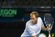 Britain's Dominic Inglot pictured during Davis Cup Practise Day at Birmingham Indoor Arena, Birmingham<br /> Picture by Anthony Stanley/Focus Images Ltd 07833 396363<br /> 03/03/2016