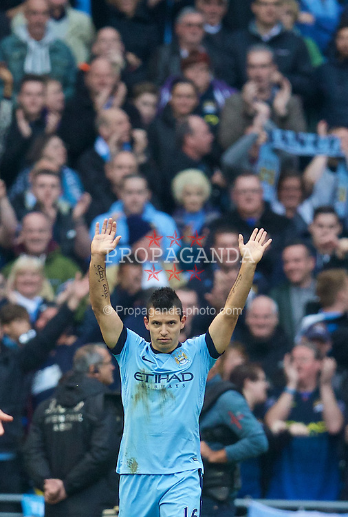 MANCHESTER, ENGLAND - Sunday, November 2, 2014: Manchester City's Sergio Aguero celebrates scoring the first goal against Manchester United during the Premier League match at the City of Manchester Stadium. (Pic by David Rawcliffe/Propaganda)