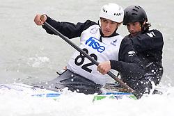 Luka Zgajnar and Peter Znidarsic of KKK Ljubljana compete in the Men's double Canoe C-2 at kayak & canoe slalom race on May 9, 2010 in Tacen, Ljubljana, Slovenia. (Photo by Vid Ponikvar / Sportida)