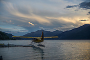 Sunset over Muncho Lake and the float plane base at Northern Rockies Lodge, British Columbia