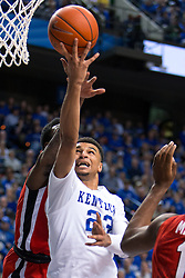 Kentucky guard Jamal Murray drives to the basket in the second half.<br /> <br /> The University of Kentucky hosted the University of Georgia, Tuesday, Feb. 09, 2016 at Rupp Arena in Lexington .