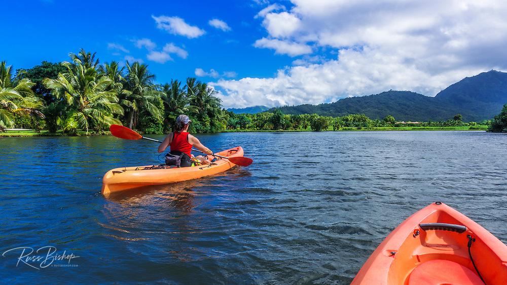 Kayaking on the Hanalei River, Hanalei, Kauai, Hawaii USA