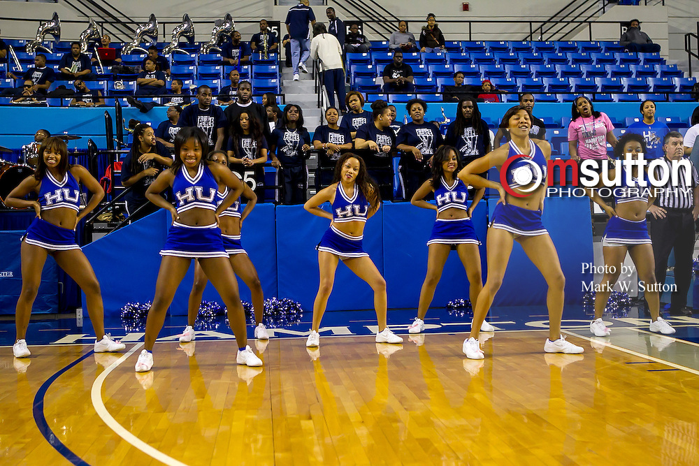 during the Hampton - St Peter's NCAA basketball game played at the Hampton Convocation Center in Hampton, Virginia.  St Peter's won 66-59.  February 23, 2013  (Photo by Mark W. Sutton)