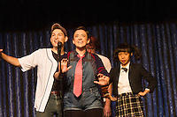 """The Hyde Park Community Players performed the comedy musical, """"The 25th Annual Putnam County Spelling Bee"""" this weekend at the University Church located at 57th and Greenwood.<br /> <br /> 2272 – Geoff Purvis as Chip Antonio, Leslie Halverson as Logainne Schwarzandgrubinierre and Lynette Li-Rappaport as Marcy Park<br /> <br /> Please 'Like' """"Spencer Bibbs Photography"""" on Facebook.<br /> <br /> All rights to this photo are owned by Spencer Bibbs of Spencer Bibbs Photography and may only be used in any way shape or form, whole or in part with written permission by the owner of the photo, Spencer Bibbs.<br /> <br /> For all of your photography needs, please contact Spencer Bibbs at 773-895-4744. I can also be reached in the following ways:<br /> <br /> Website – www.spbdigitalconcepts.photoshelter.com<br /> <br /> Text - Text """"Spencer Bibbs"""" to 72727<br /> <br /> Email – spencerbibbsphotography@yahoo.com"""