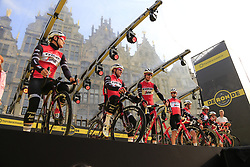 Trek-Segafredo on stage at the team presentation in Antwerp before the start of the 2019 Ronde Van Vlaanderen 270km from Antwerp to Oudenaarde, Belgium. 7th April 2019.<br /> Picture: Eoin Clarke | Cyclefile<br /> <br /> All photos usage must carry mandatory copyright credit (© Cyclefile | Eoin Clarke)