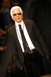 German fashion designer Karl Lagerfeld appears on the catwalk after the presentation of the Lagerfeld Gallery's Spring-Summer 2006 ready-to-wear collection presentation held at the Carrousel du Louvre in Paris, France, on October 5, 2005. Photo by Nebinger-Orban/ABACAPRESS.COM