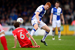 Rory Gaffney of Bristol Rovers is tackled by Edward Upson of Milton Keynes Dons - Mandatory by-line: Dougie Allward/JMP - 28/10/2017 - FOOTBALL - Memorial Stadium - Bristol, England - Bristol Rovers v Milton Keynes Dons - Sky Bet League One