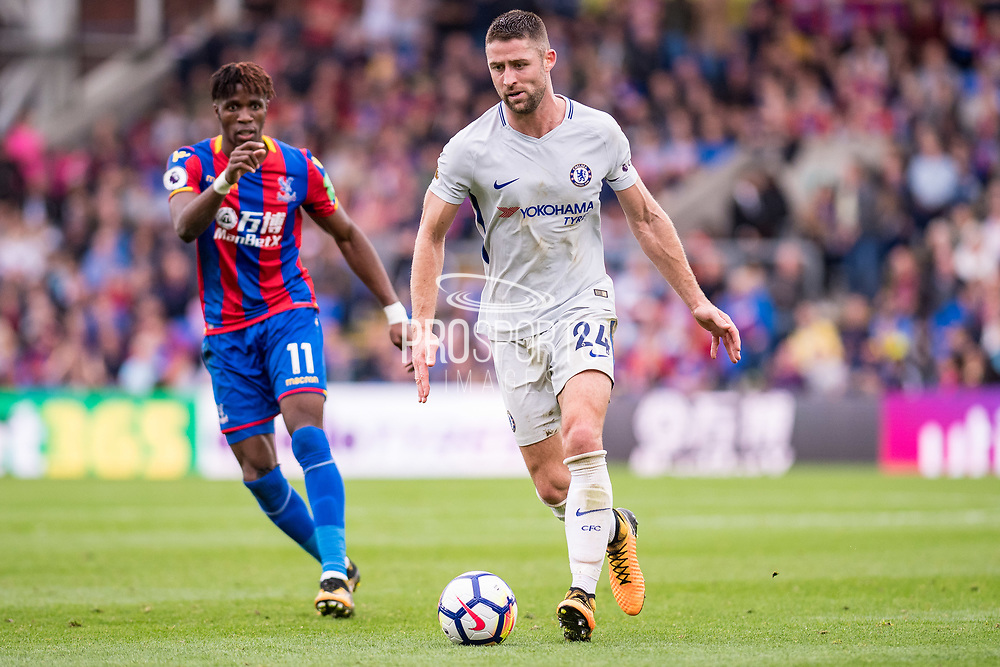 Chelsea (24) Gary Cahill, Crystal Palace #11 Wilfried Zaha during the Premier League match between Crystal Palace and Chelsea at Selhurst Park, London, England on 14 October 2017. Photo by Sebastian Frej.