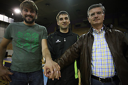 Jure Jankovic, coach Robert Begus and Franjo Bobinac after handball game between women team RK Olimpija vs ZRK Brezice at 1st round of National Championship, on September 13, 2008, in Arena Tivoli, Ljubljana, Slovenija. (Photo by Vid Ponikvar / Sportal Images)