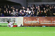 Jamille Matt of Stevenage scores and celebrates in front of his fans during the Sky Bet League 2 match between AFC Wimbledon and Stevenage at the Cherry Red Records Stadium, Kingston, England on 12 December 2015. Photo by Stuart Butcher.