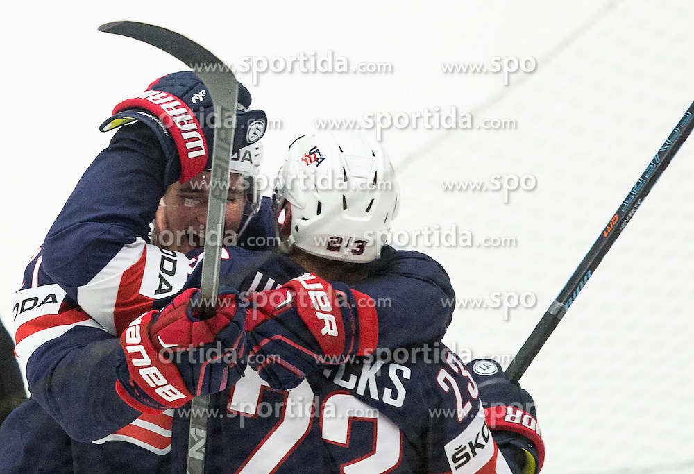 Dylan Larkin of USA and Matt Hendricks of USA celebrate after scoring second goal for USA  vs Pekka Rinne of Finland and Jyrki Jokipakka of Finland during Ice Hockey match between USA and Finland at Day 1 in Group B of 2015 IIHF World Championship, on May 1, 2015 in CEZ Arena, Ostrava, Czech Republic. Photo by Vid Ponikvar / Sportida