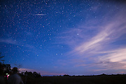 Night sky with Geminid Meteor