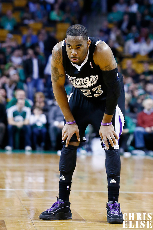 30 January 2013: Sacramento Kings shooting guard Marcus Thornton (23) rests during the Boston Celtics 99-81 victory over the Sacramento Kings at the TD Garden, Boston, Massachusetts, USA.