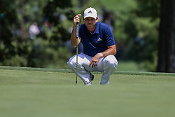 August 10, 2018 - St. Louis, MO, U.S. - ST. LOUIS, MO - AUGUST 10:  Sergio Garcia (ESP) lines up his putt on the ninth green during Round 2 of the PGA Championship August 10, 2018, at Bellerive Country Club in St. Louis, MO.  (Photo by Tim Spyers/Icon Sportswire) (Credit Image: © Tim Spyers/Icon SMI via ZUMA Press)