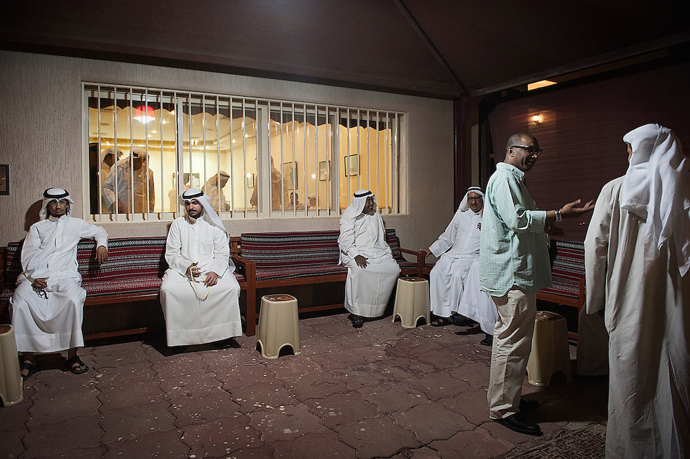 A group of Bedoon activists, seated in a private house in Ahmadi City, Kuwait. The Bedoon new generation has been organizing numerous demonstrations since February 2011, calling on authorities to address their citizenship claims. The government has repeatedly promised to address citizenship claims of stateless residents, however has taken small actions to resolve the issue of Bedoons.