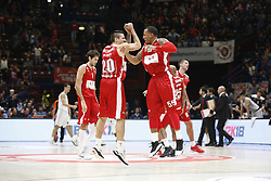 November 17, 2017 - Milan, Milan, Italy - Andrea Cinciarini (#20 AX Armani Exchange Milan) and Curtis Jerrells (#55 AX Armani Exchange Milan) celebrate during a game of Turkish Airlines EuroLeague basketball between  AX Armani Exchange Milan vs Brose Bamberg at Mediolanum Forum, on November 17, 2017 in Milan, Italy. (Credit Image: © Roberto Finizio/NurPhoto via ZUMA Press)