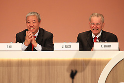 LIMA, Sept. 16, 2017  International Olympic Committee (IOC) Honorary President Jacques Rogge (R) and IOC Vice-President Yu Zaiqing react during the 131st IOC session in Lima, Peru, on Sept. 15, 2017. The 131st IOC session concluded on Friday. (Credit Image: © Li Ming/Xinhua via ZUMA Wire)