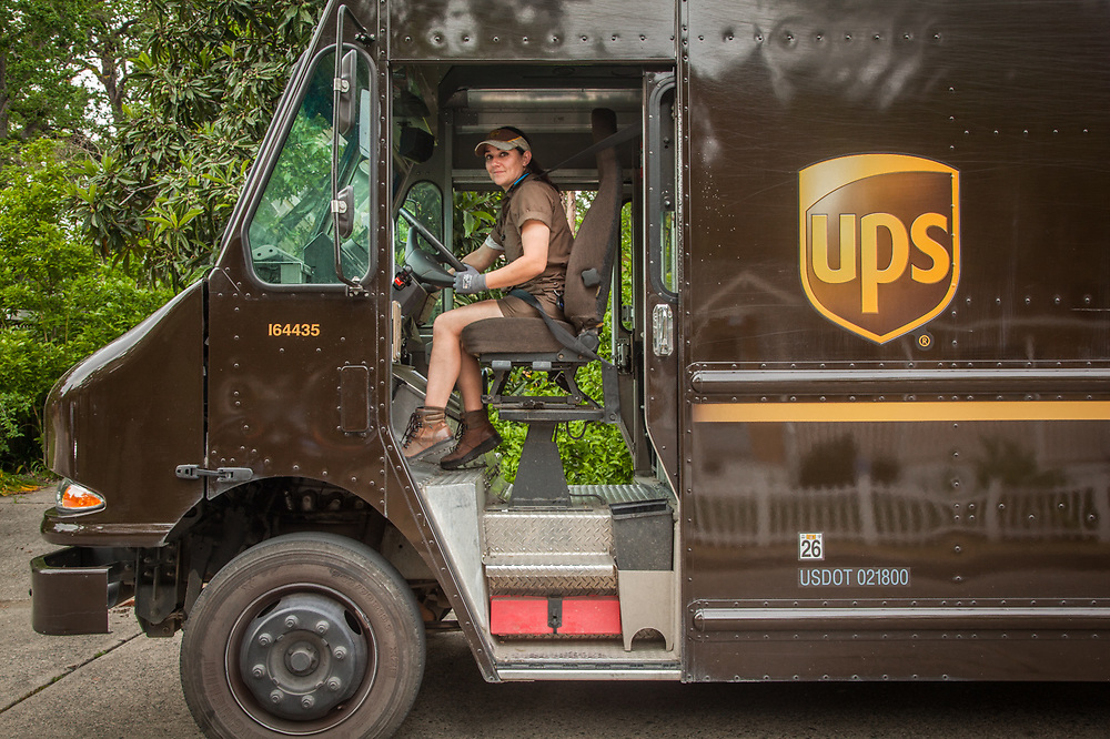 "UPS delivery person Chantal Cook on Myrtle Street in Calistoga.  ""I live in Middletown but I deliver all over...Calistoga is my favorite...I love the mountains."""