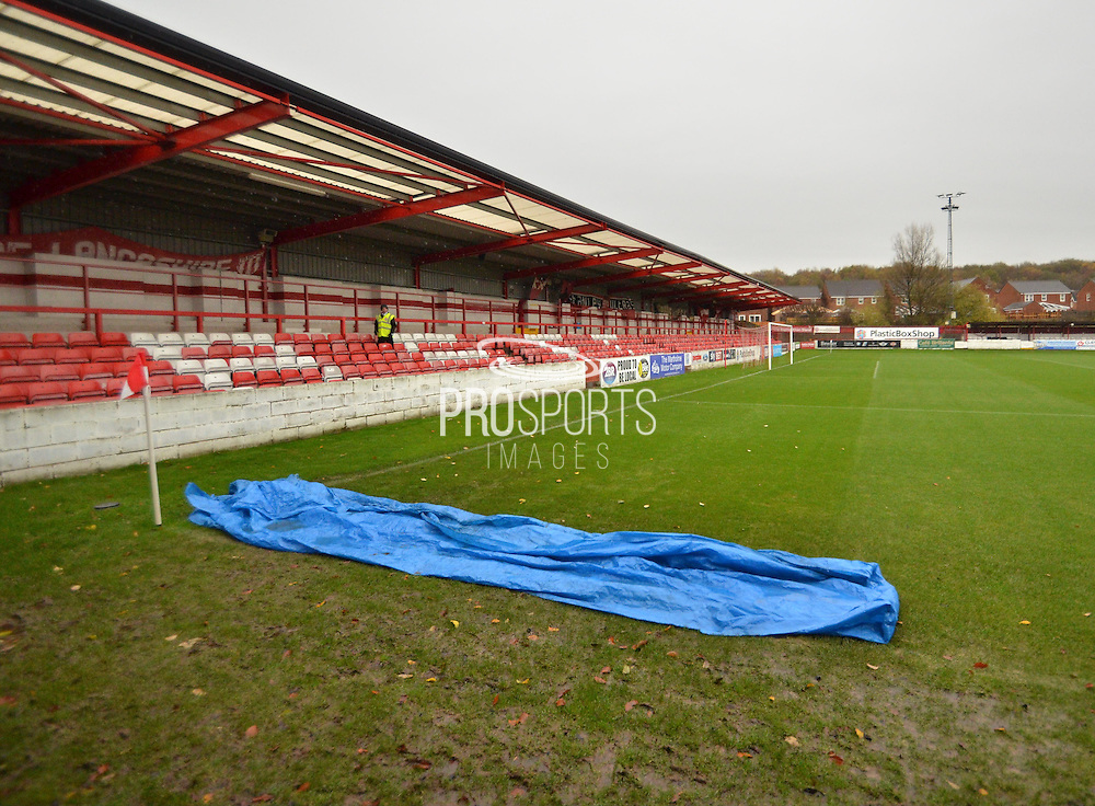 A wet accrington stdium before the Sky Bet League 2 match between Accrington Stanley and Newport County at the Fraser Eagle Stadium, Accrington, England on 14 November 2015. Photo by Mark Pollitt.
