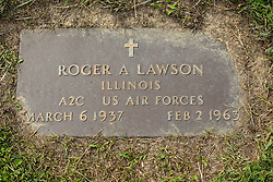 31 August 2017:   Veterans graves in Park Hill Cemetery in eastern McLean County.<br /> <br /> Roger A Lawson Illinois A2C US Air Forces March 6 1937 Feb 2 1963