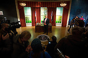 UNITED KINGDOM, London: 18 January 2017 Press take pictures of the wax figure of President Elect Donald J. Trump in the Madame Tussauds London's Oval Office section at its unveiling today. The London wax figure is one of four Trump figures created by Madame Tussauds globally, the others are in Washington D.C, New York and Orlando. Rick Findler / Story Picture Agency