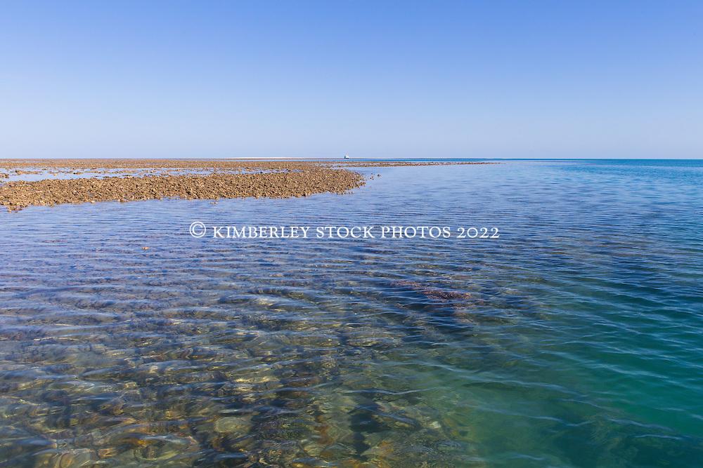 Shallow waters around the reef off Adele Island on the Kimberley coast.
