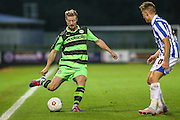 Forest Green Rover's Wade Elliott plays a pass during the Gloucestershire Senior Cup match between Forest Green Rovers and Cheltenham Town at the New Lawn, Forest Green, United Kingdom on 20 September 2016. Photo by Shane Healey.