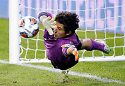 Stanford goal keeper Andrew Epstein blocks a penalty kick in overtime against Akron during a NCAA College Cup soccer match, Friday, Dec. 11, 2015, in Kansas City, Kan. Stanford defeated Akron 8-7.  (AP Photo/Colin E. Braley)