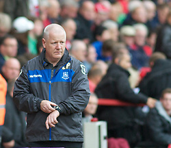 LONDON, ENGLAND - Saturday, October 8, 2011: Tranmere Rovers' Manager Les Parry checks his watch against Charlton Athletic during the Football League One match at The Valley. (Pic by Gareth Davies/Propaganda)