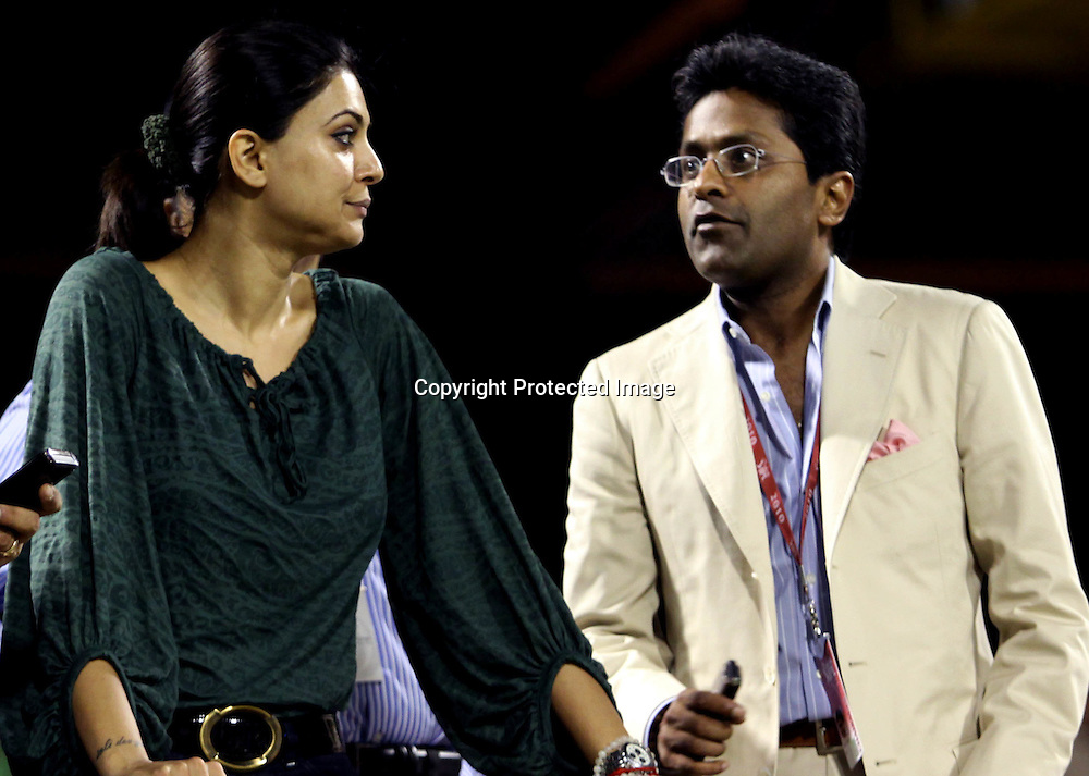 Lalit Modi And Bowlinwood Acters Susmita Sen During Kolkata Knight Riders vs Deccan Chargers Match In Indian Premier League - 30th match Twenty20 match | 2009/10 season Played at Eden Gardens, Kolkata  1 April 2010 - day/night (20 over match)