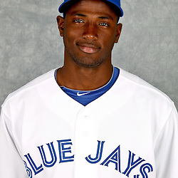 March 2, 2012; Dunedin, FL, USA; Toronto Blue Jays shortstop Adeiny Hechavarria (3) poses for a portrait during photo day at Florida Auto Exchange Stadium.  Mandatory Credit: Derick E. Hingle-US PRESSWIRE