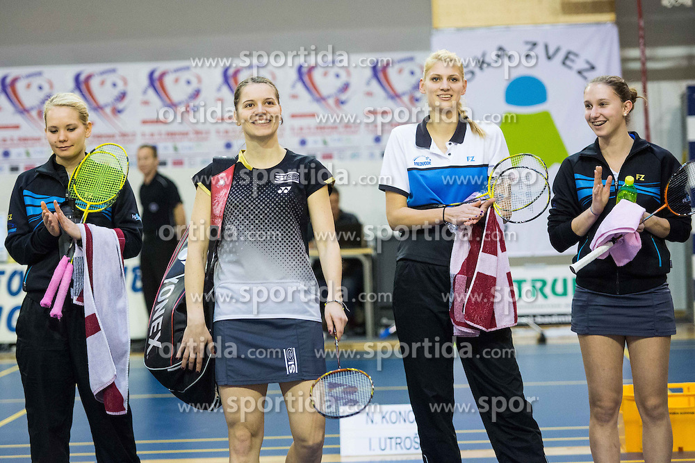 Ziva Repse, Maja Tvrdy, Kaja Okrslar and Ana Marija Setina of BK Medvode during 56th Slovenian national championship in badminton on Februar  3, 2013 in Zg. Kungota, Slovenia. (Photo By Grega Valancic / Sportida)