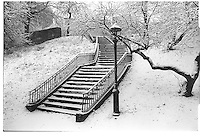 Staircase in Central Park under snow, NYC, Street photography. 1980