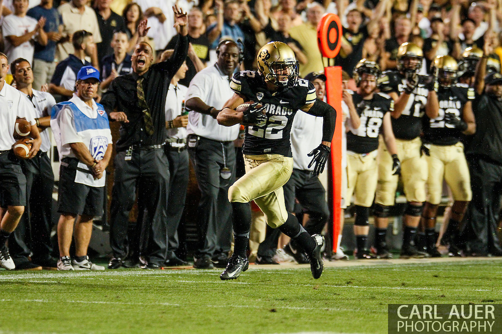 September 7th, 2013 - Colorado Buffaloes sophomore wide receiver Nelson Spruce (22) runs to the end zone in the fourth quarter of the NCAA football game between the University of Central Arkansas Bears and the University of Colorado Buffaloes at Folsom Field in Boulder, CO