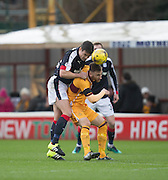 Dundee's Darren O'Dea and Motherwell's Louis Moult - Motherwell v Dundee in the Ladbrokes Scottish Premiership at Fir Park, Motherwell.Photo: David Young<br /> <br />  - © David Young - www.davidyoungphoto.co.uk - email: davidyoungphoto@gmail.com
