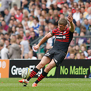 Owen Farrell of Saracens kicks a penalty in the 1st half during the Aviva Premiership final at Twickenham Stadium, Twickenham<br /> Picture by Andrew Tobin/Focus Images Ltd +44 7710 761829<br /> 31/05/2014