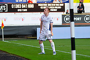 2nd Aug 2019, East End Park, Dunfermline, Fife, Scotland, Scottish Championship football, Dunfermline Athletic versus Dundee;  Danny Johnson of Dundee celebrates after scoring for 2-2