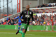 Bristol City striker Jonathan Kodjia scores to put the Robin's 1-1 deep in to the first half during the Sky Bet Championship match between Nottingham Forest and Bristol City at the City Ground, Nottingham, England on 27 February 2016. Photo by Jon Hobley.