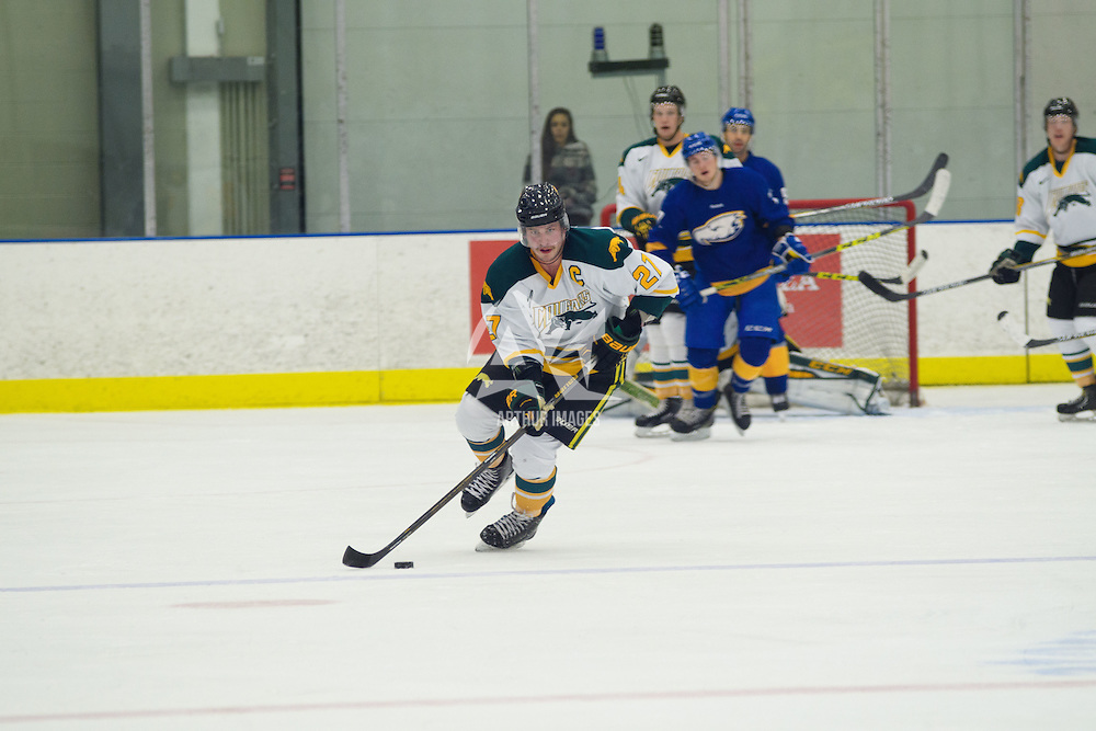 4th year forward Cody Fowlie (27) of the Regina Cougars in action during the Men's Hockey Home Game on November 19 at Co-operators arena. Credit: Arthur Ward/Arthur Images