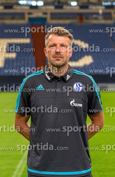 23.06.2015, Veltins-Arena, Gelsenkirchen, GER, 1. FBL, Schalke 04, Fototermin, im Bild Co-Trainer Sven Huebscher (Schalke) // during the official Team and Portrait Photoshoot of German Bundesliga Club Schalke 04 at the Veltins-Arena in Gelsenkirchen, Germany on 2015/06/23. EXPA Pictures &copy; 2015, PhotoCredit: EXPA/ Eibner-Pressefoto/ Hommes<br /> <br /> *****ATTENTION - OUT of GER*****