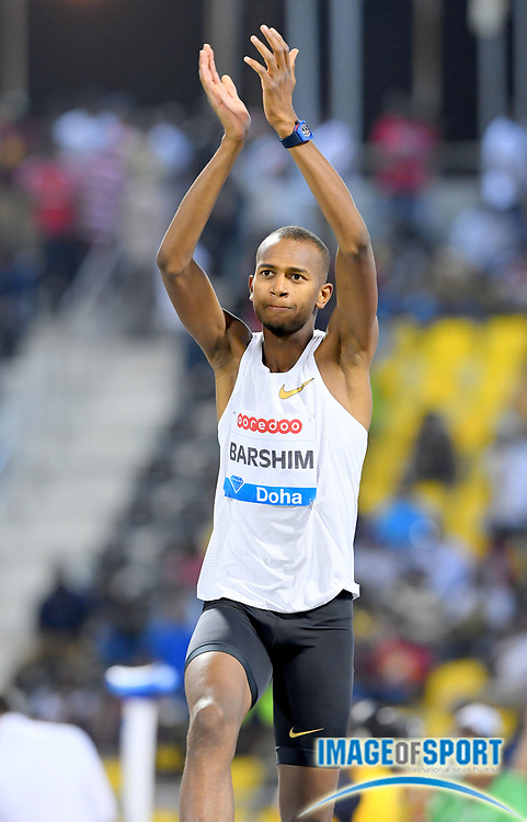 Mutaz Essa-Barshim (QAT) celebrates after winning the high jump at 7-10 1/4 (2.40m) in the 2018 IAAF Doha Diamond League meeting at Suhaim Bin Hamad Stadium in Doha, Qatar, Friday, May 4, 2018. (Jiro Mochizuki/Image of Sport)