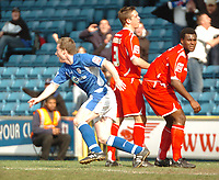 Photo: Tony Oudot.<br />Millwall v Nottingham Forest. Coca Cola League 1. 07/04/2007.<br />Neil Harris turns to celebrate after scoring the winning goal