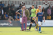 Rochdale manager Keith Hill looks disappointed at the end of the match. Skybet football league two match, Newport county v Rochdale at Rodney Parade in Newport, South Wales on Saturday 3rd May 2014.<br /> pic by Mark Hawkins, Andrew Orchard sports photography.
