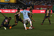 5/22/15- NYCFC striker and captain D. Villa mixes three Philadelphia Union defenders during a NYCFC home match played at Yankee Stadium in the south Bronx.
