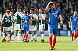 Andrew Hughes of Peterborough United cuts a dejected figure at full-time - Mandatory by-line: Joe Dent/JMP - 07/04/2018 - FOOTBALL - Home Park - Plymouth, England - Plymouth Argyle v Peterborough United - Sky Bet League One